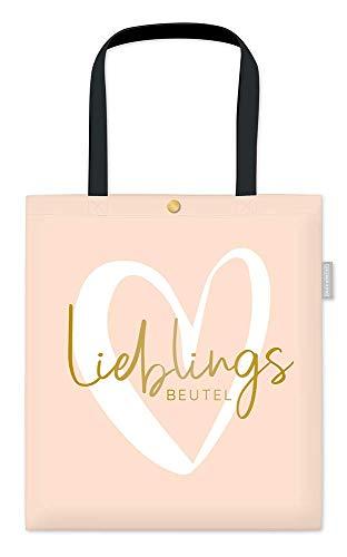 Grafik-Werkstatt Damen Baumwoll-Beutel mit lustigem Spruch Tasche mit Verschluss | Lieblingsbeutel, Lachs, ca. 39 x 44 cm ohne Henkel