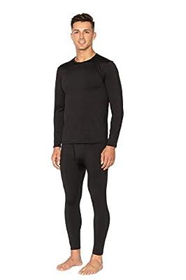 Bodtek Mens Thermal Underwear Set Premium Long John Base Layer Fleece Lined Top and Bottom (Black, X-Large)