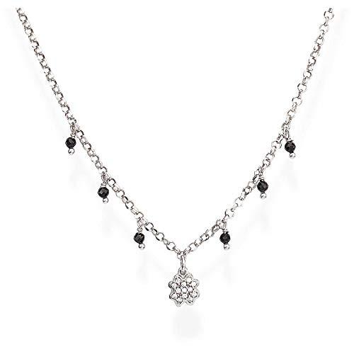 Collana Amen Quadrifoglio, da donna in argento 925 con cristalli e zirconi