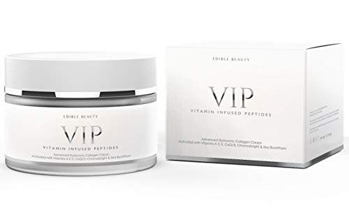 Vitamin Infused Peptides. Advanced Anti-Ageing Collagen Cream + Hyaluronic Acid. Unique formulation day & night cream, fights all signs of ageing, wrinkles, fine lines, pigmentation or scarring. 50ml