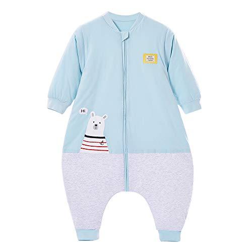 Schlafsäcke baby Winter Junge Mädchen Neugeboreneoverall Strampler - 2.5TOG mit Füßen kinder Ganzjährig Schlafanzug Eisbär (Blau, XL:105CM/3-4jahre)