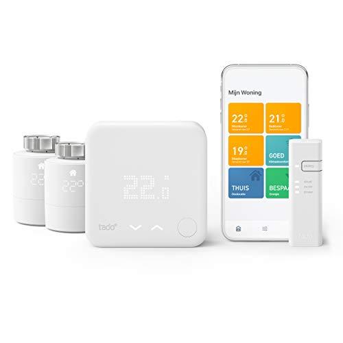 tado° Slimme Thermostaat - Starterskit V3+ met 2 Slimme Radiatorknoppen om de verwarming per kamer aan te sturen, doe-het-zelf installatie, werkt met Amazon Alexa, Apple Homekit, Google Assistant