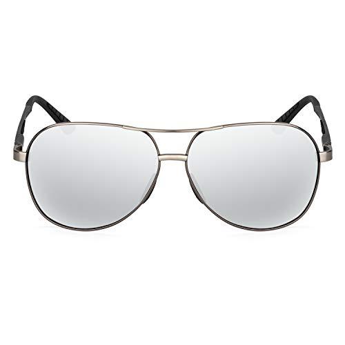XXL extra large Classic Round Aviator Polarized Sunglasses for big wide heads 150mm (gunmetal, silver)