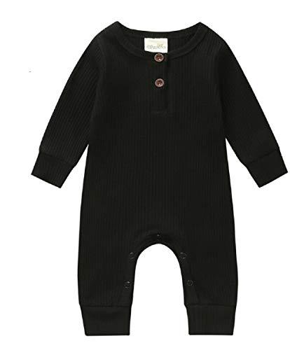 Baby Jungen Mädchen Kleidung Strick-Strampler Overall Bodysuit Einteiler Pyjama Gerippte Outfit Kleidung Gr. 56, Schwarz
