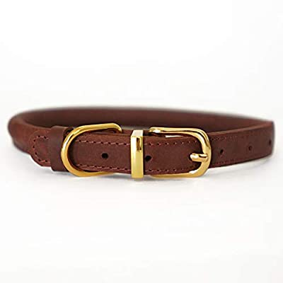 """BRONZEDOG Rolled Leather Dog Collar Soft Padded Round Rope Pet Collars for Dogs Puppy Cat Kitten Small Medium Large (Neck Size 11""""- 14"""", Cognac Brown)"""
