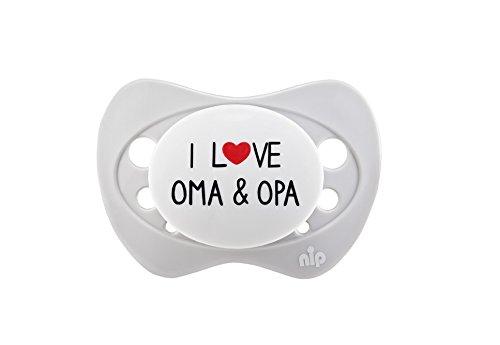 nip Schnuller I love Oma and Opa: Kiefergerecht, Mindert Druck auf Zahn- & Kieferbereiche, Silikon-Schnuller, 0-6 Monaten