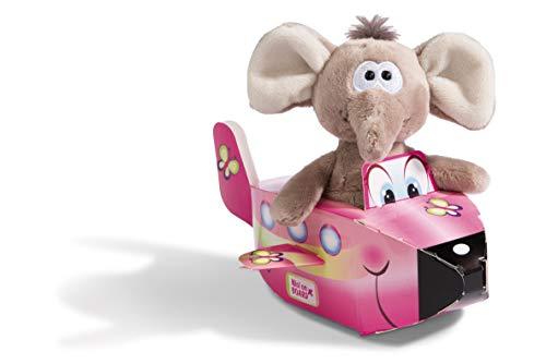 NICI 45003 Kuscheltier Elefant 15cm mit Geschenkverpackung Flugzeug, Plüschtier im Spielset, grau/pink