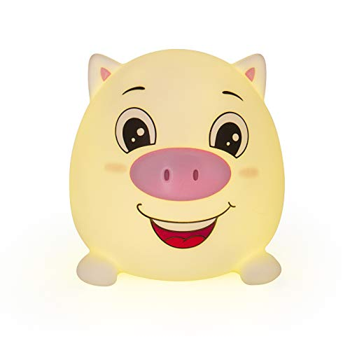 Cute Pig Night Lights for Kids Soft Animal Lights for Toddler Baby Newborn Rechargeable Touch LED Lamps for Nursery Breastfeeding Perfect Girls Boys Easter Gifts Cool Children Bedrooms Decor