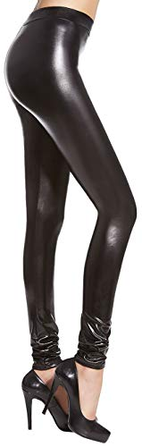 Firstclass Trendstore Leggings in Wetlook Gr. S-L, Leggins Damenhose Hose Damen Jeggings Lederoptik (Niki S)