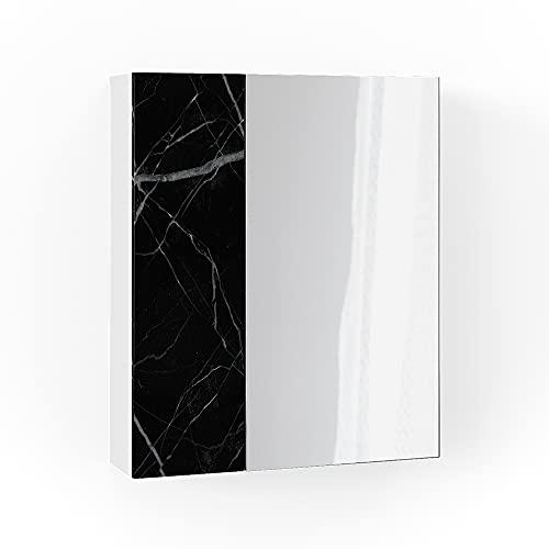 Vicco Spiegelschrank Badspiegel Badschrank Nero Marmoroptik Badezimmerspiegel