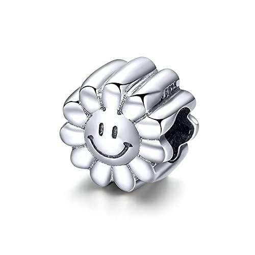 LISHOU 100% Plata De Ley 925 Lucky Happy Sunflower Charms Bead Fit Original Pulsera Brazalete Collar Colgante DIY Joyería De Las Mujeres Regalo