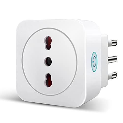 Presa Wifi Italiana 16A 3680W Smart Plug Intelligente Spina Energy Monitor, Funzione Timer, APP Controllo Remoto, Compatibile con SmartThings, Amazon Alexa, Google Assistant e IFTTT
