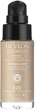 Revlon ColorStay Foundation for Normal/Dry Skin SPF 20, Longwear Liquid Foundation, with Medium-Full Coverage, Natural Finish, Oil Free, Butterscotch