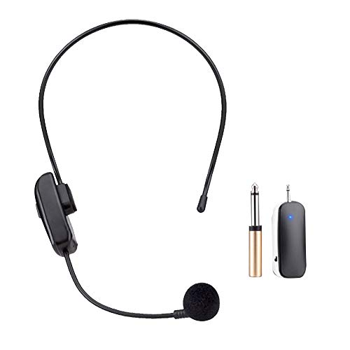 POHOVE Auriculares inalámbricos UHF, auriculares inalámbricos UHF, micrófono de mano y micrófono 2 en 1, para altavoces de escenario, guías, presentadores de conferencias
