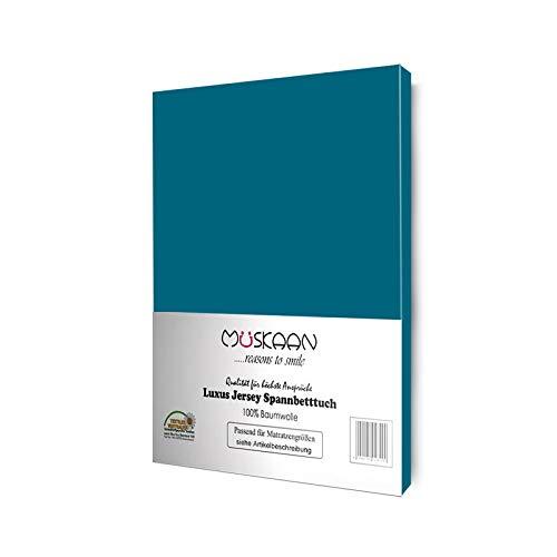 Müskaan Jersey Spannbettlaken 100% Baumwolle | Spannbetttuch 140x200 cm - 160x200 cm | Bettlaken Qualität 135 g/m² | ÖKOTEX Standard 100 | Petrol