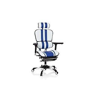 hjh OFFICE 652412 Silla Gaming Alta Gama ERGOHUMAN Elite Pro Cuero Blanco/Azul ergonómica Silla de Oficina con reposapiés