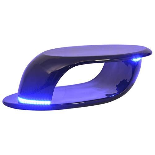 vidaXL Table Basse avec lumière LED Table d'appoint Salon Fibre de Verre Noire