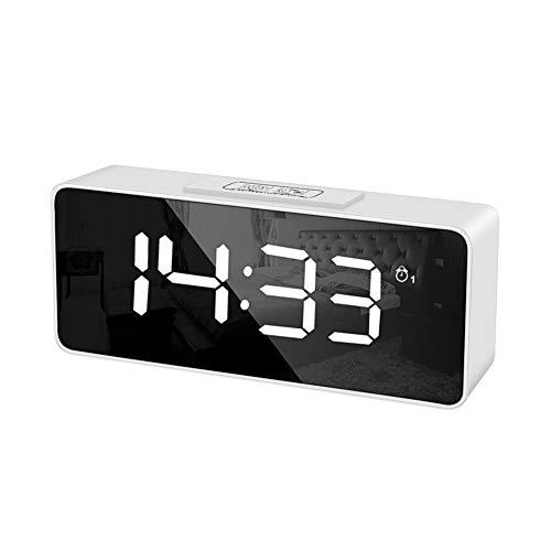目覚まし時計 デジタル 明るさ調整 スヌーズ機能付き 置き時計 三段階調光 おしゃれ 置時計 大型画面 常時点灯 大音量 LEDデジタル時計 夜でも見える 授乳 アラーム 寝室 室内 音制御 コンセント ミラークロック ミラー表面 オフィス 化粧 メイク