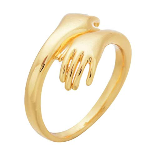 1 Piece Couple's Statement Ring Gold Color Open Rings Hug Ring for Wedding Couple Lover Girlfriend Anniversary
