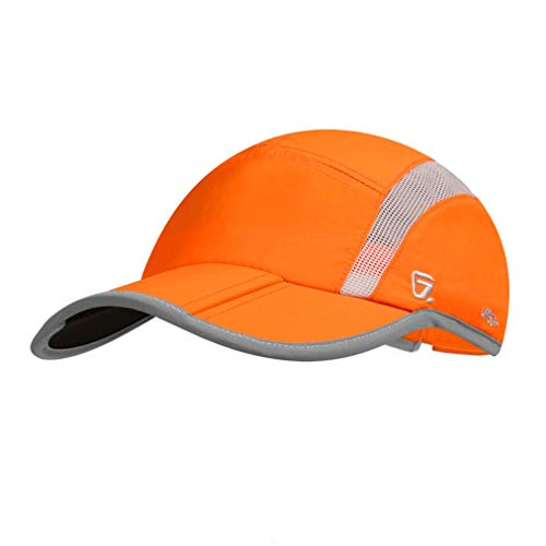 GADIEMKENSD Baseball Cap Nylon Running Cap Outdoor Sports Hat Adjustable Quick Drying Reflective Foldable 40+ UPF Inhibit UV Mesh Race Performance Lightweight Water Repellency for Men Woman Orange