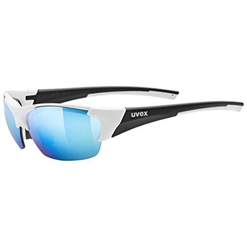 uvex Unisex– Erwachsene, blaze III Sportbrille, inkl. Wechselscheiben, white black mat/mirror blue, one size