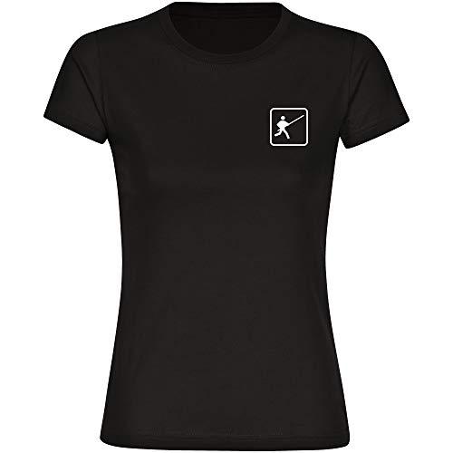 T-Shirt Stabhochsprung Stabhochspringer Piktogramm auf der Brust schwarz Damen Gr. S bis 2XL - Shirt Trikot Sportshirt Logo, Größe:M