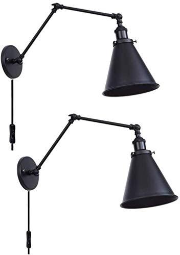 ZHANGYY Lámpara de Pared Industrial Lámpara de Pared de Brazo oscilante de Metal Ajustable para Interiores con Interruptor Lámparas de Lectura E27 para cabecera de Cama Cocina Sala de Esta