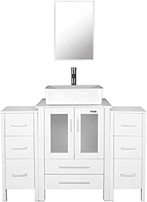 "48"" White Bathroom Vanities and Sink Combo,Porcelain Vessel Sink(Rectangle),Chrome Faucet,Drain Parts,2 Small Side Cabinet Removable,Mirror Included"