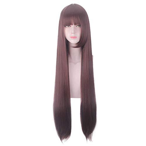 cosplay pruik, lang recht bruinachtig rood haar, 100cm, natuurlijk levensecht haar, hoge temperatuur zijde met chemische vezels, damespruik voor dagelijks gebruik en feest, feest