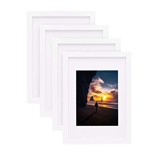 Egofine Marco de fotos A4, color blanco, 4 unidades, se compone de madera maciza y plexiglás frontal para montaje en pared con paspartú 15 x 20 cm