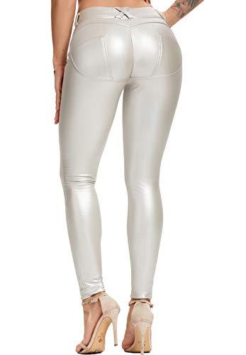 FITTOO Leggings in Pelle da Donna Pantaloni Ecopelle Collant Sexy Leather Pants Sexy Slim Vita Alta Pantaloni Elastici in PU Basic
