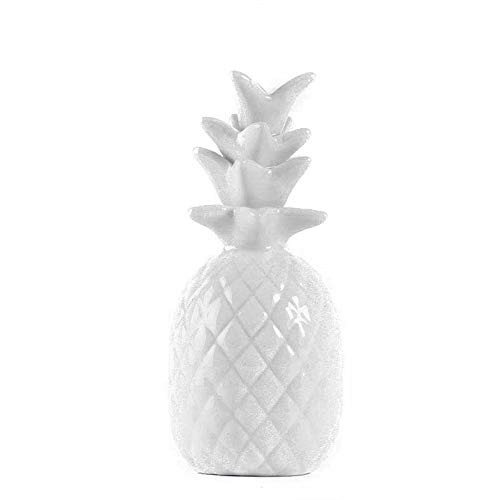 Homevibes Piña Decorativa De Ceramica Blanca. Figura Decorativa Moderna Centro de Mesa de 15 cm Alto