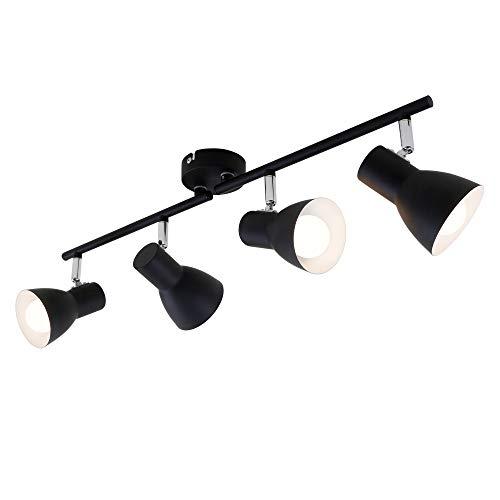 Briloner Leuchten - Deckenleuchte, Deckenspot, Strahler Dreh- und schwenkbar, 4x E14, max. 25 Watt, Retro, Schwarz, 605x80x150mm (LxBxH)