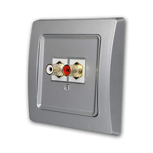 world-trading-net Cinch-Anschlussdose, silber, Unterputz, passend zu DELPHI Schaltern und Steckdosen-Programm