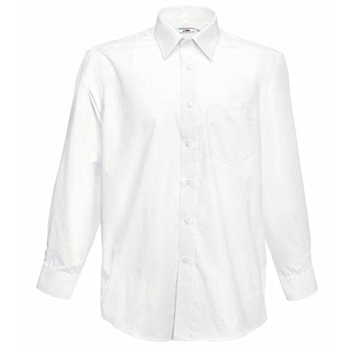 Fruit of the Loom – Langärmeliges Popeline-Hemd für Männer XXXL Weiß - Weiß