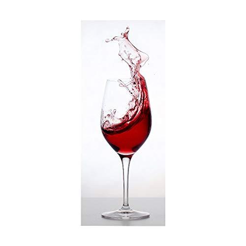 KEXIU 3D Copa de vino tinto PVC fotografía adhesivo vinilo puerta pegatina cocina baño decoración mural 77x200cm