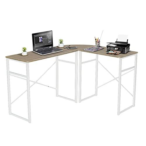 TOPLIVING Escritorio en L Escritorio en Escuadra para Casa y Oficina Home Office Escritorio Esquinado (Blanco)