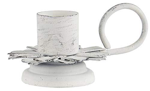 IB Laursen kandelaar voor staafkaarsen antiek wit shabby kandelaar bloem met handvat 57059-11