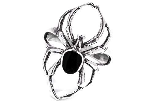 Windalf Spinnen Ring SPY h: 2.6 cm mit schwarzem Onyx 925 Sterlingsilber (Silber, 68 (21.6))