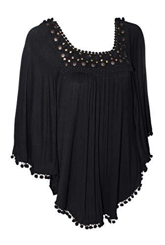 Jaune Rouge Modische Tunika Bluse Schwarz mit vielen Bommeln (Medium)