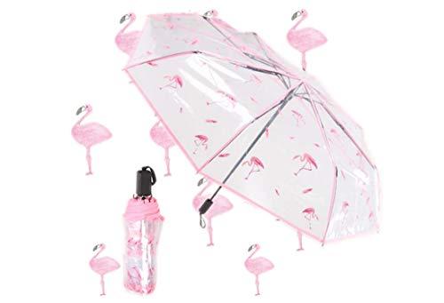 Transparent Regenschirm mit Hülle Groß Taschenschirm Flamingo Kreativer Reiseschirm für Auto Tragbarer Schirm für Kinder Damen Frauen Studenten Leicht Durchsichtig Windfest Durchmesser 96cm