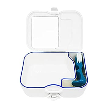 Denture Travel Box Case with Mirror and Brush-Sturdy Compact and Leakproof,Ideal Container for Dental Appliances and Mouth Guards