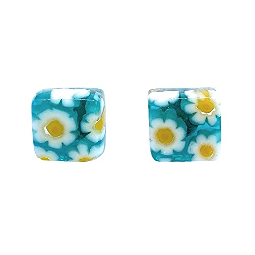 Pendientes de cristal de Murano, pendientes de cristal de Murano, 1 cm x 1 cm, incluye caja de regalo y certificado de autenticidad