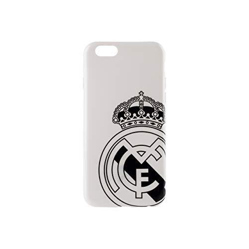 Wondee Global Services Carcasa Blanca con Escudo Negro del Real Madrid Club de Futbol para iPhone 6 y 6S