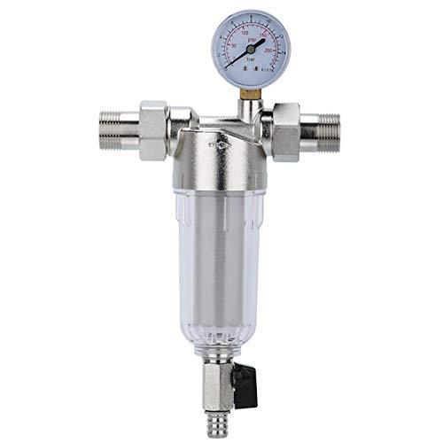 Czxwyst Wasseraufbereiter Hot Interface Wasserfilter Frontfilter Rückspülfilter Wasserfilter Vorfilter Entkalkung mit Wasserzähler Haushalt Badezimmer silber