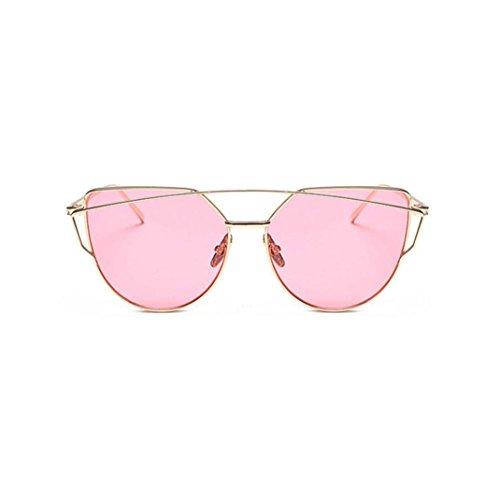 Ularma Damen Twin-Träger Vintage Classic Metallrahmen Sonnenbrille Katzenaugen Brille Reflektierenden Spiegel (Pink)