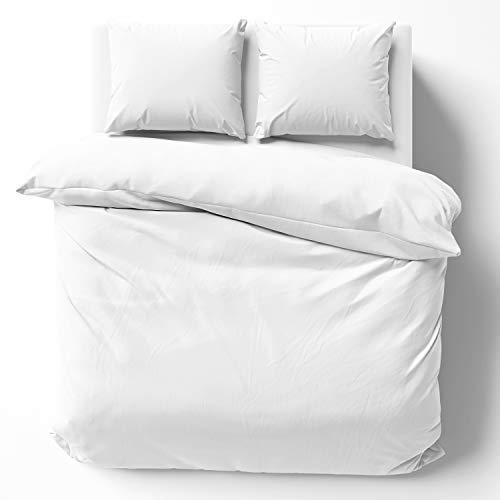 Melunda Renforcé Bettwäsche Set 200 x 200 cm mit 2 Kopfkissenbezüge 80 x 80 cm - Weiß - 100% Baumwolle mit YKK Reißverschluss - Oeko-TEX® Standard Zertifiziert