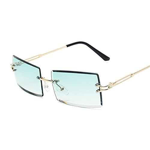 Vintage Marrón Cuadrado Gafas De Sol Mujeres Marca De Lujo Pequeño Rectángulo Gafas De Sol Femenino Gradient Espejo Sin Borde Oculos De Sol, Doble Verde,