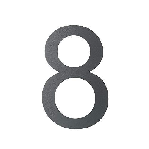 Hausnummer 8 anthrazit - grau RAL7016 Edelstahl Höhe 30 cm Arial XXL Größe 2D wetterfest rostfrei V2A im Shop 0 1 2 3 4 5 6 7 8 9 a b c (8)
