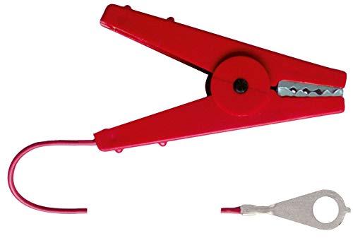 AKO Zaunanschlusskabel Kabel, 1m - mit Krokodilklemme in rot - Geeignet für Seil, Litze, Band, Draht und Elektronetze - Anschlusskabel zum Zaun
